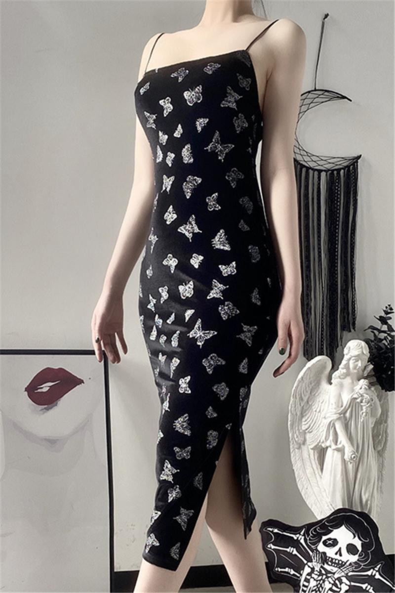 Butterflies print micro-elastic velvet sling slit night club style midi dress