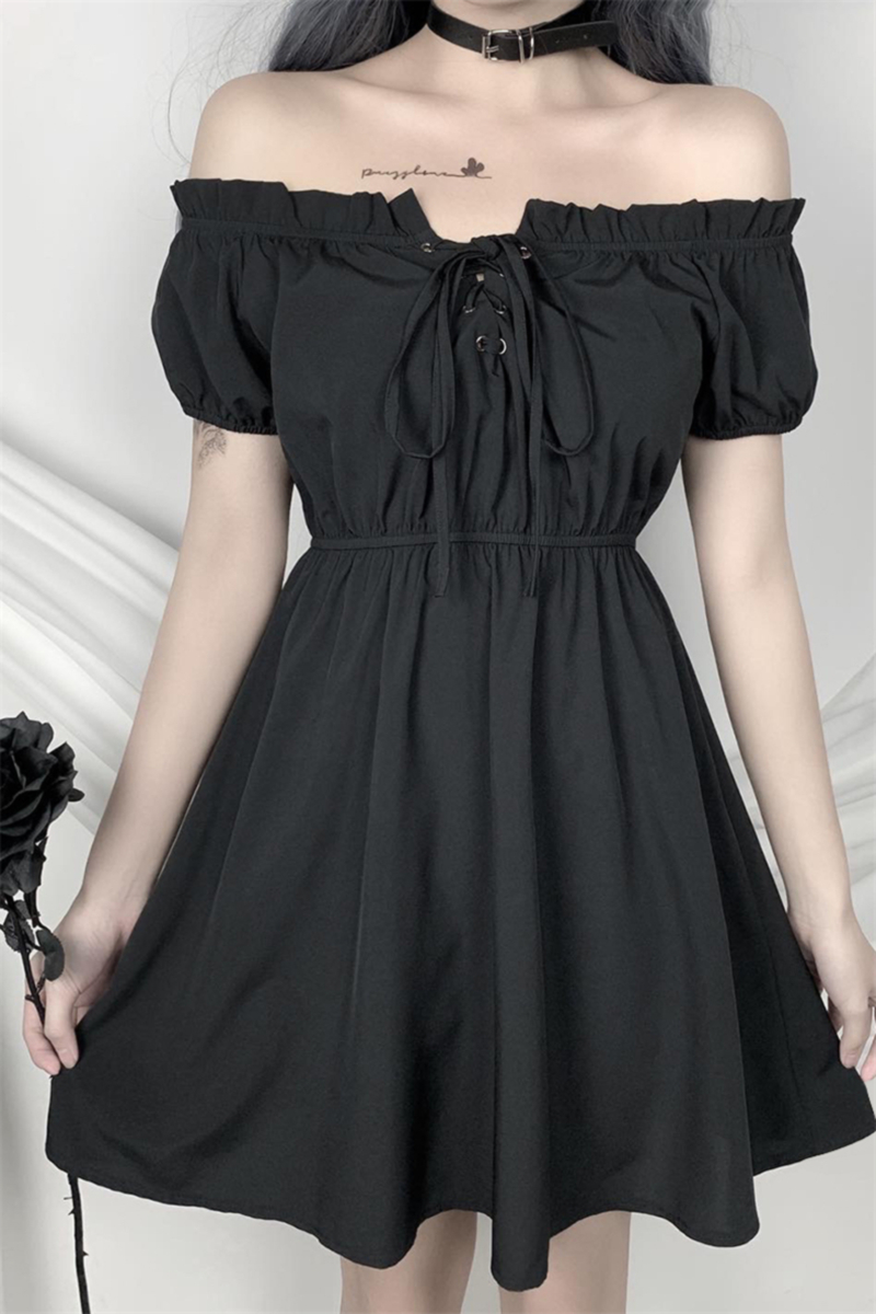New stylish solid color lace-up elastic waist off -shoulder stretch pleated dress
