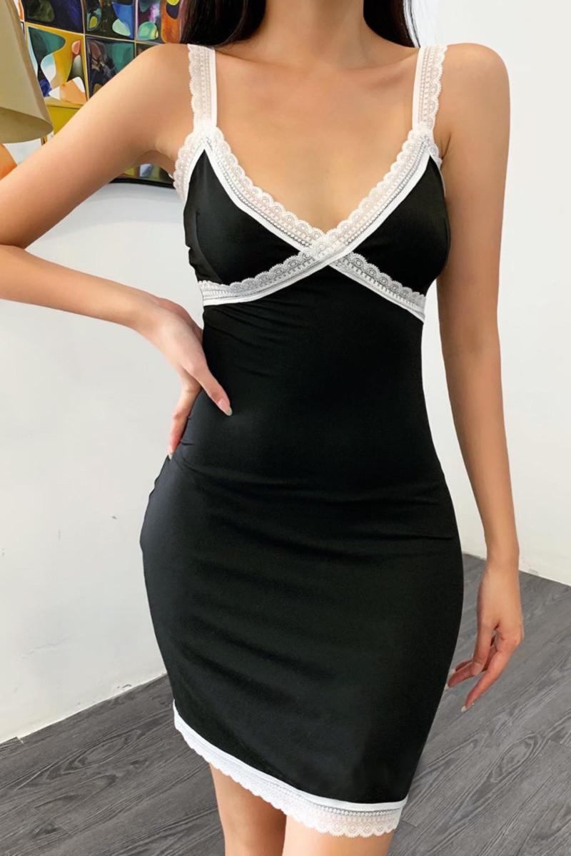 New lace spliced stretch sling sexy bodycon dress
